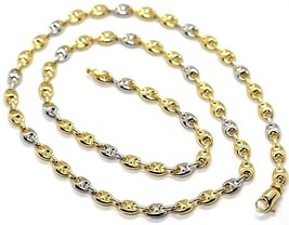 18K YELLOW WHITE GOLD MARINER CHAIN 5 MM, 20 INCHES, ANCHOR ROUNDED NECKLACE image 1