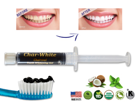 Natural Teeth Whitening Activated Charcoal Gel - Mint Flavor - Fresh Teeth White - $9.99