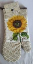 """Printed Kitchen 13"""" Large Oven Mitt, SUNFLOWER, brown back by BH - $8.90"""