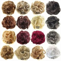 Natural Color Curly Messy Bun Hair Piece Scrunchie Hair Extension image 3