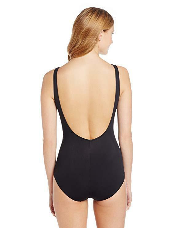 Gottex One Piece Swimsuit Sz 10 Solid Black Beach Goddess Surplice Ruched