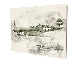 US Air Force Curtiss P-40N War Plane Art Design 16x20 Aluminum Wall Art - $59.35
