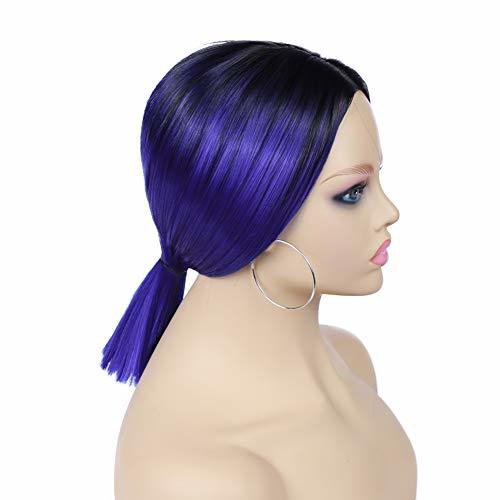 Quick Wig Ombre Wigs Short Straight Synthetic Wigs Middle Part Dark Roots Heat R image 6