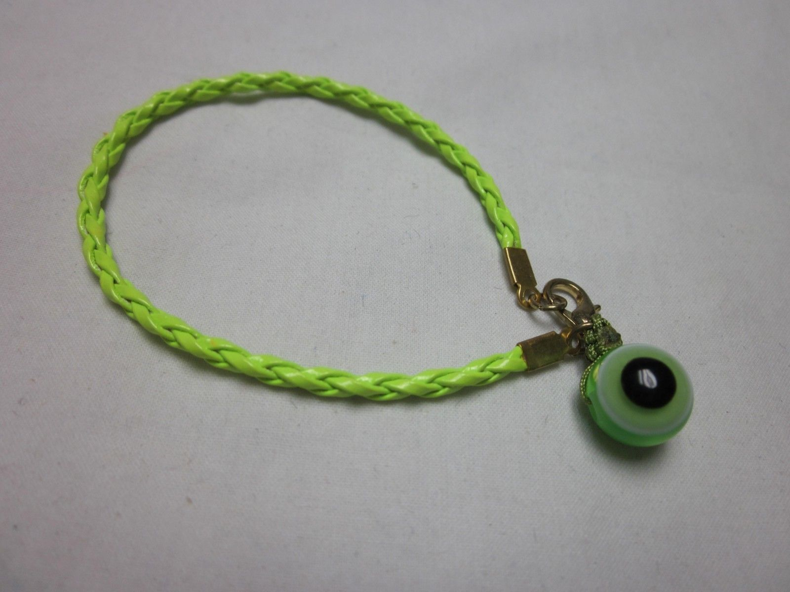 "6"" NEON GREEN BRAIDED CORD GLASS EVIL EYE HAMSA RUYI PROTECTION CHARM BRACELET"