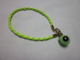 "6"" NEON GREEN BRAIDED CORD GLASS EVIL EYE HAMSA RUYI PROTECTION CHARM BR... - $5.99"