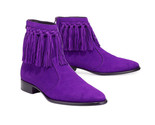 Purple suede leather boot handmade men s cow boy ankle high fringe boots thumb155 crop