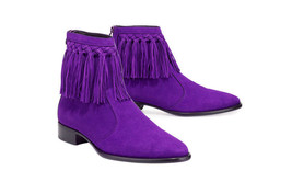 Mens Cow Boy High Ankle Purple Color Suede Leather Handmade Fringe Boots