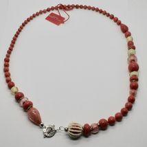 ANTICA MURRINA VENEZIA NECKLACE WITH MURANO GLASS BEIGE RED CORAL COA06A25 image 3