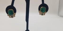 Vintage Coro Green Emerald Stone Gold Tone Art Deco Style Screw Back Ear... - $15.44