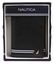 Nautica Men's Genuine Leather Credit Card Id Holder Trifold Wallet image 11