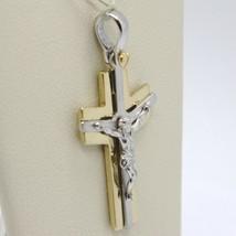 Pendentif Croix or Jaune Blanc 750 18K, avec Christ, Brillante et Satin image 2