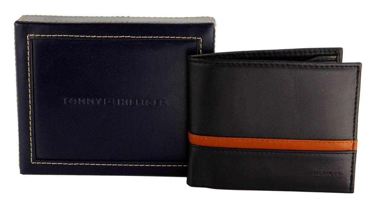 NEW TOMMY HILFIGER MEN'S LEATHER DOUBLE BILLFOLD WALLET BLACK/SADDLE 31TL13X041