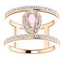14K Rose Morganite & 1/3 CTW Diamond Ring - $1,479.50