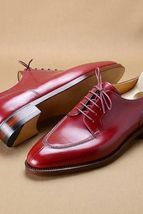 Handmade Men's Maroon Derby Style Lace up Shoes image 6