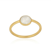 Yellow Gold Over 925 Silver Stackable Rainbow Moonstone Ring Designer Je... - $13.13