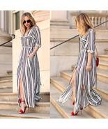 Women's Long Sleeve Turn Down Collar Striped Side Slits Maxi Shirt Beach... - $34.68