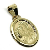 SOLID 18K YELLOW OVAL GOLD MEDAL PENDANT, SAINT JOSEPH AND JESUS, 17 mm image 2