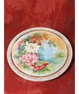 "DRESDEN CHINA LARGE PLATE ROSES GOLD TRIM Large 13"" Plate by Dresden - $5.99"