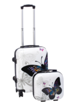 Carry on Luggage Sale Spinner Set 2 piece Hardside Butterfly Hardcase Ma... - $128.19