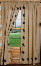 Olivia's Heartland country Tan Deluxe BURLAP Stencil STAR Panel curtains 36x63 - $59.99