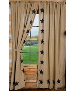 Olivia's Heartland country Tan Deluxe BURLAP Stencil STAR Panel curtains... - $59.99