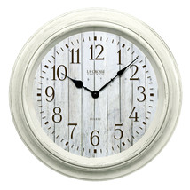 "White Distressed Design Large 14"" Round Wall Clock, Modern Rustic, Quart... - $24.64"