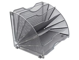 EasyPAG Fan-Shaped Desk File Organizer 6 Compartment Magazine Holder Silver - $32.56