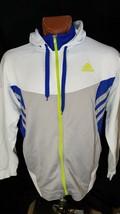 Adidas 3 Stripes Vintage White Silver Blue Green Unisex Zip Hoodie L / XL - $24.63