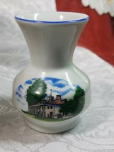 Vintage Leart Miniature Bud Vase Colonial Manor Blue Trim Brazil