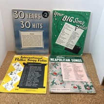 VINTAGE PIANO BOOKS WITH GUITAR CHORDS, LOT OF 4, BIG SONG FOLIO, POLKA,... - $11.88