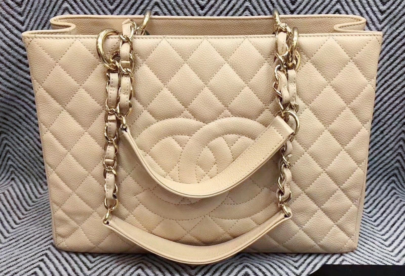 AUTHENTIC CHANEL QUILTED CAVIAR GST GRAND SHOPPING TOTE BAG BEIGE GHW RECEIPT