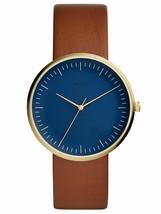 Fossil Essentialist Navy Dial Three-Hand Quartz Brown Leather Watch FS5473 - $49.50