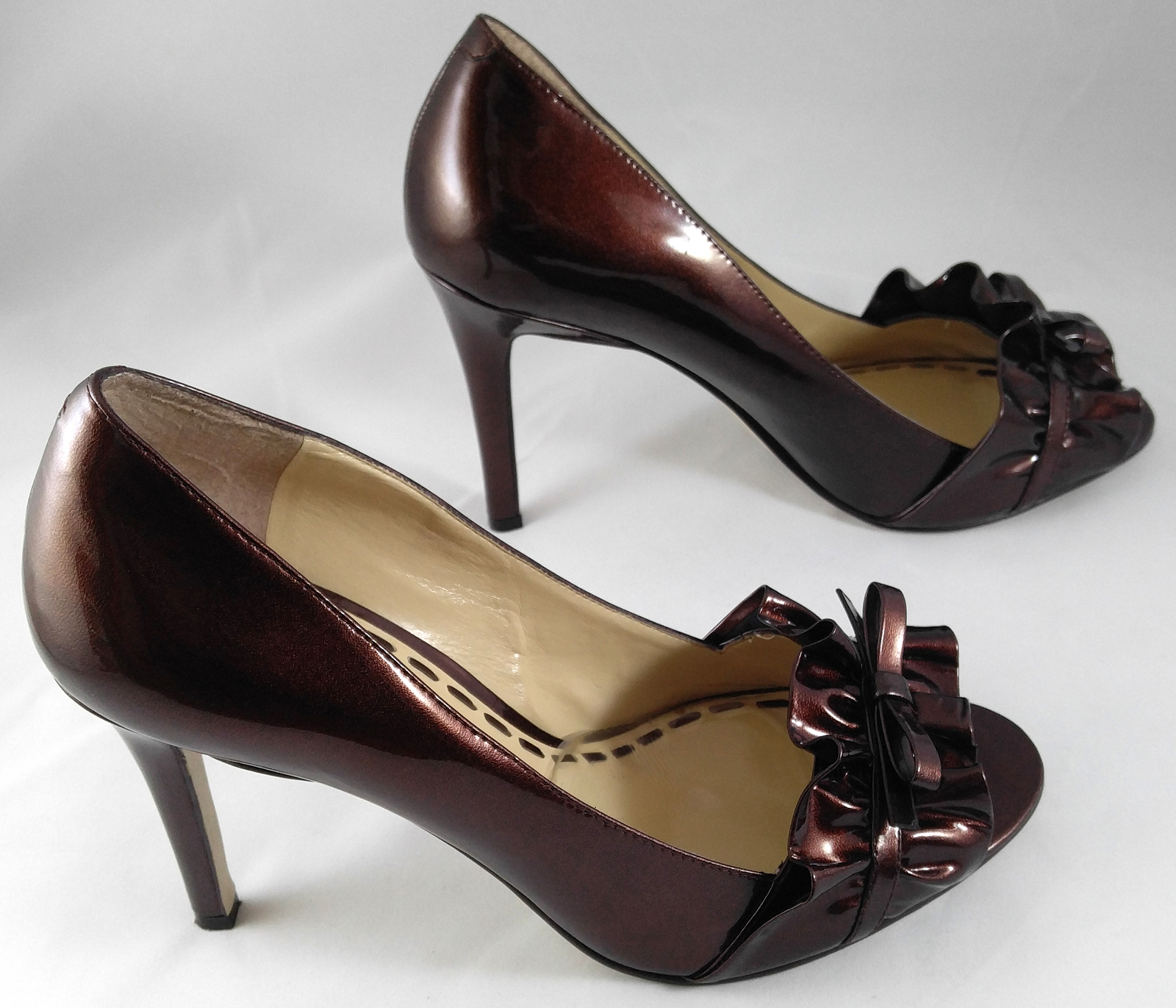 Enzo Angiolini Eamielee Patent Leather Ruffle Stiletto Heels Pumps Copper 8 ½