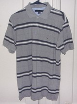 Tommy Hilfiger Mens Large 100% Cotton Embroidered Striped Short Sleeve Polo Shir - $13.46