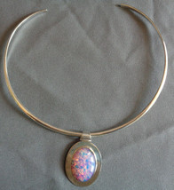 Dichroic Opal Glass Pendant Rigid Choker Necklace Sterling Silver Taxco ... - $39.99