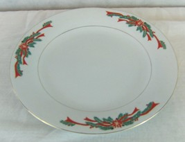 "Tienshan Fine China 10 1/2"" Dinner Plate in Poinsettia & Ribbon Pattern - $10.41"