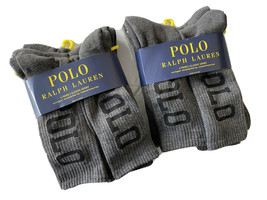 Polo Ralph Lauren men's 12 pair Gray crew large Polo logo athletic Socks - $50.45