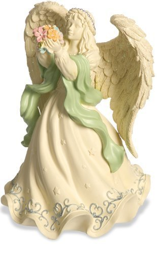 AngelStar Platinum Series Angel Holding Flowers Figurine, 6-1/2-Inch