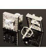 "14K White Gold FN 1Ct Cushion Cut Simulated Diamond Stud Women""s Earrings - $70.00"