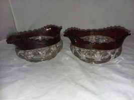 2 Kings Crown Thumbprint Ruby Sm Oval Sauce Bowl Vintage Flashed Glass F... - $10.99
