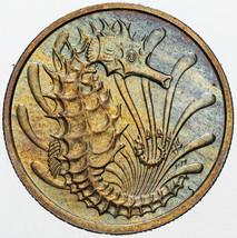 1976 SINGAPORE 10 CENTS BU UNC UNIQUE MULTI COLOR TONING SELECT GEM (MR) - $197.99