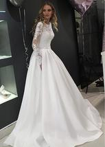 Splendid Tulle High Neckline A-line Long Sleeves Crystals Button Down Wedding Go image 2