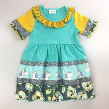 NEW Girls Boutique Ruffle Unicorn Turquoise Short Sleeve Dress 4 5 7 8 - $16.99
