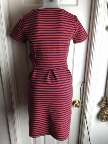 J. Crew Womens -Size 4 -Red/Navy Stripe Scoop Neck S/S Ponte Dress -A0120 image 6