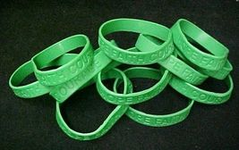 Green Awareness Bracelets 12 Piece Lot Silicone Jelly Wristband Cancer Cause image 5