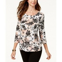 New $40 JM Collection Printed Jacquard Top Striping Floral Shirt Blouse ... - $21.29