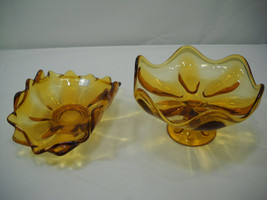Two Vintage Amber Viking Glass 6 Petal Scalloped Ruffled Candy Fruit Dishes - $24.95