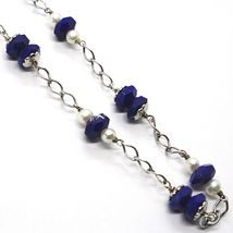 925 Silver Necklace, Lapis Lazuli Blue Disk Faceted, Pearls, 45 cm image 3