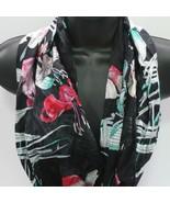 "Womens Neck Head Scarf Wrap Shawl Tropical Florals Black Teal Pink 24"" x... - $10.79"