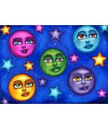 moon faces original art drawings markers fantasy celestial fairytale pen... - $29.99